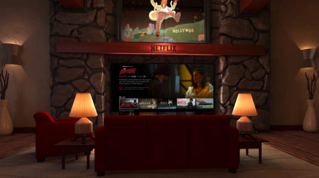 La aplicación Netflix VR mete al usuario en un salón virtual donde puede ver contenidos de forma tradicional.